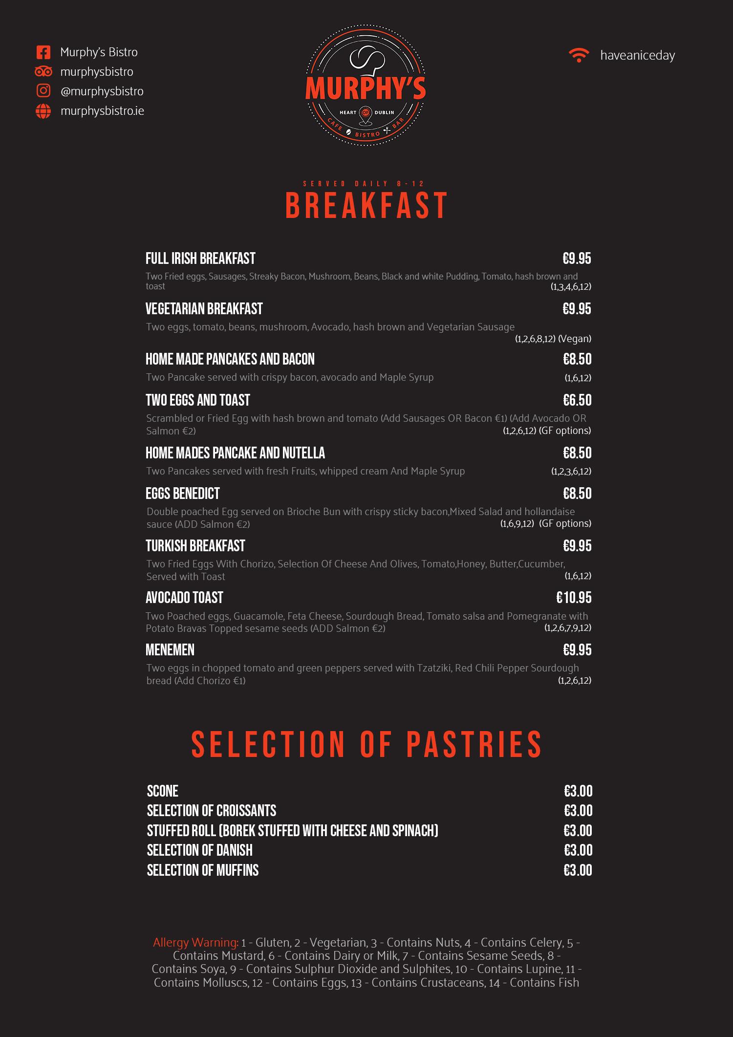 Breakfast Menu at Murphy's Bistro Cafe