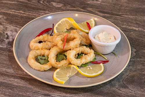Seafood Tapas - freshly deep-fried squid, served with tartare sauce